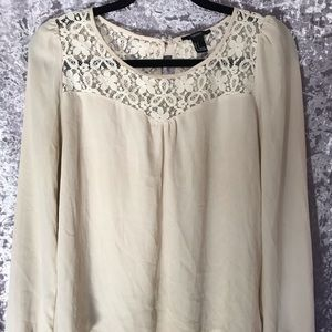 White Long Sleeve Top with Lace Neckline